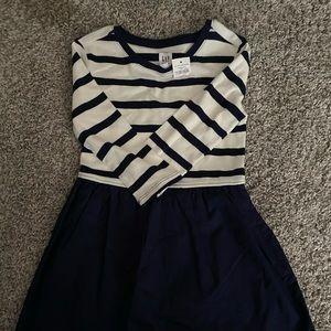 Girls Gap navy and white dress